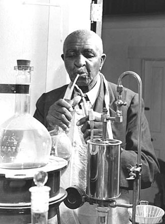 George Washington Carver - At work in his laboratory