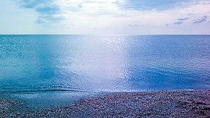 Bodies of water of Azerbaijan - Caspian Sea coast in Hovsan.
