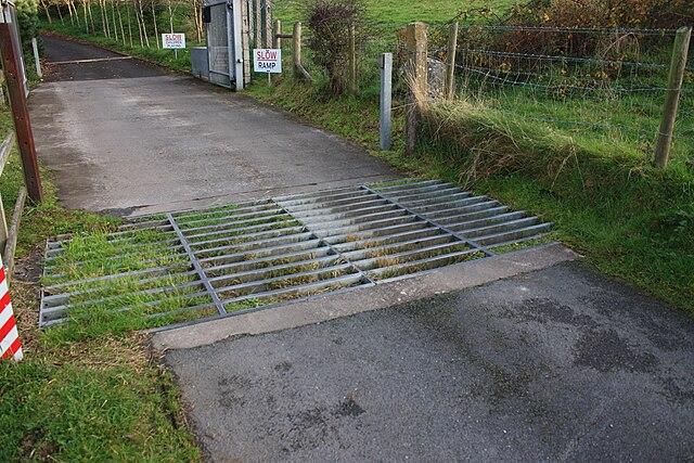 Grid 2 Wikipedia: File:Castle Island Road, Cattle Grid, October 2009.JPG