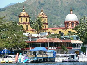 Catemaco city seen from the lake