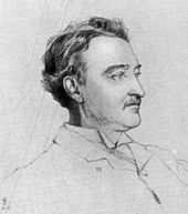 A man with brown hair and a moustache, sketched in profile