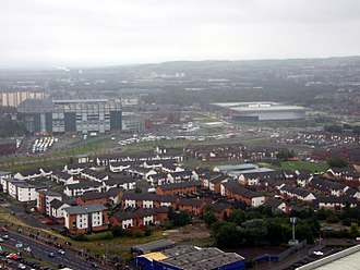 Barrowfield - Modern housing in Barrowfield, with Celtic Park and Commonwealth Arena beyond (2013)