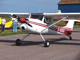Conventional landing gear - A Cessna 150 converted to taildragger configuration by installation of an aftermarket modification kit