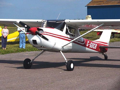 A Cessna 150 converted to taildragger configuration by installation of an aftermarket modification kit Cessna150taildraggerC-GOCB02.jpg