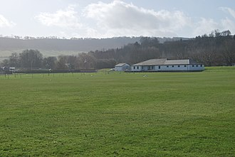 Chippenham Mead - Image: Chippenham Sports Ground field and club house Used by the Cricket Club, Bowls Club, Football Club and Monmouth Sports Association