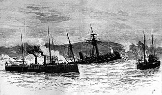 Battle of Caldera Bay - An outline of the battle in its final stage, when Blanco Encalada sinks because of a torpedo.