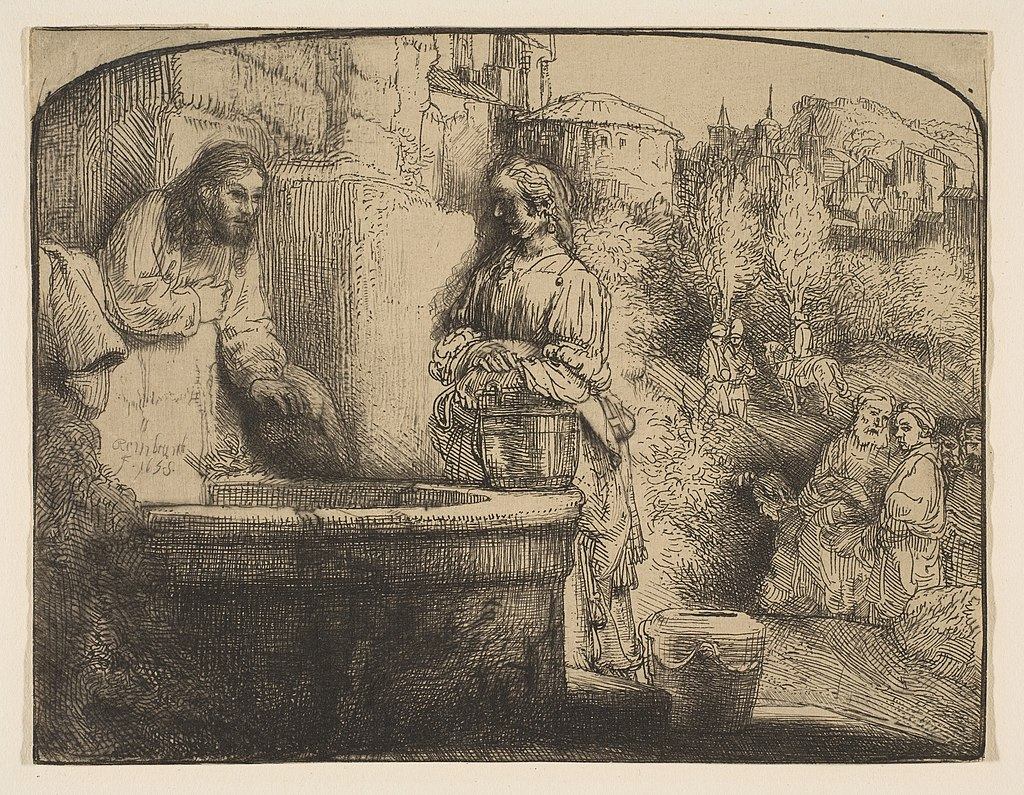 """Christ and the Woman of Samaria"" by Rembrandt"