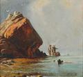 Christian Olavius Zeuthen - Kystparti med fiskere mellem klipperne - 1857.png
