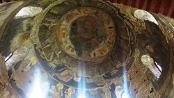 Original Roman and Byzantine frescoes of the Rotunda St. George in Sofia, Bulgaria