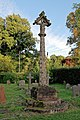 Church of St Andrew, Nuthurst, West Sussex - churchyard gabled cross column monument 01.jpg