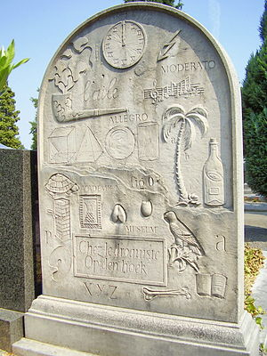 Marcel Broodthaers - Broodthaers' tombstone, designed by the artist himself, Ixelles Cemetery, Brussels