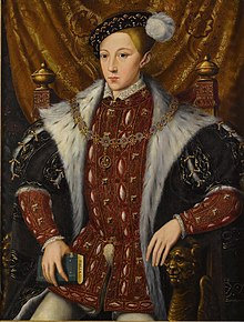 Formal portrait in the Elizabethan style of Edward in his early teens. He has a long pointed face with fine features, dark eyes and a small full mouth.