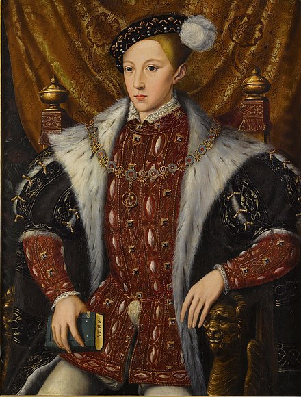 King Edward VI, founder of Shrewsbury School Circle of William Scrots Edward VI of England.jpg