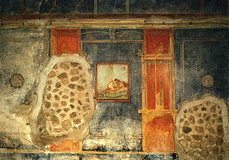 Erotic art on a wall of the House of the Centenary, Pompeii Clarke Ars Erotica 04.jpg