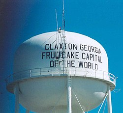 The water tower for Claxton, Georgia, celebrating its fruitcake manufacture.