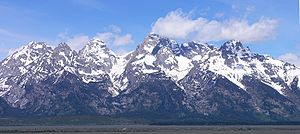 Teton Fault - East face of the Teton Range. The Teton fault is located at the base of these mountains.