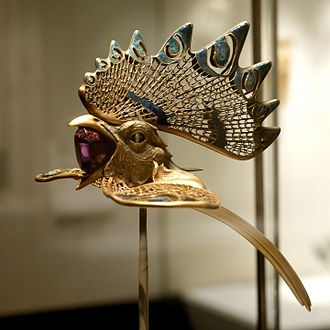 Zoomorphism - The 'Cockerel' diadem, from Calouste Gulbenkian Museum (Lisbon, Portugal), made between 1897 and 1898 by René Lalique