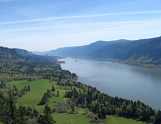 Columbia River - The Columbia River Gorge facing east toward Beacon Rock