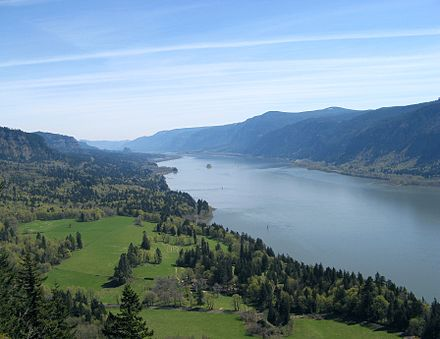 The Columbia River Gorge facing east toward Beacon Rock ColumbiaGorge CapeHorn.jpg