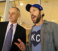 Commissioner Rob Manfred and Paul Rudd chat during -WorldSeries Game 2 (22653632330).jpg