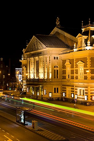 Music venues in the Netherlands - Concertgebouw at night in 2008