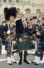 Sean Connery at a Tartan Day celebration in Washington D.C. shown wearing the Clan Maclean hunting tartan