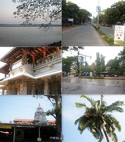Clockwise from top: Kundapur River, Main Road, Kollur Mookambika temple, Shastri Circle, Anegudde Sri Vinayaka temple, Coconut Tree.