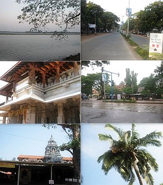Kundapur - Clockwise from top: Kundapur River, Main Road, Shastri Circle, Coconut Tree, Anegudde Sri Vinayaka temple, Kollur Mookambika temple.