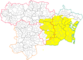 Corbières AOC - Map of Aude, with the Corbières AOC producing area in yellow.