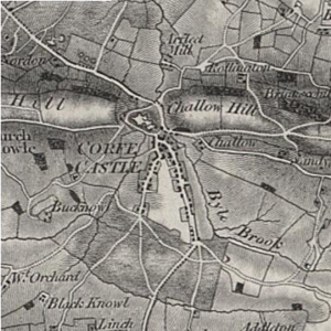 Corfe Castle (village) - Ordnance Survey map of Corfe Castle in 1856, showing the castle and village in the gap of the Purbeck Hills