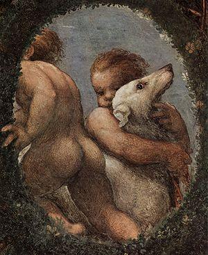 Detail of Correggio's frescoes in the Camera di San Paolo.