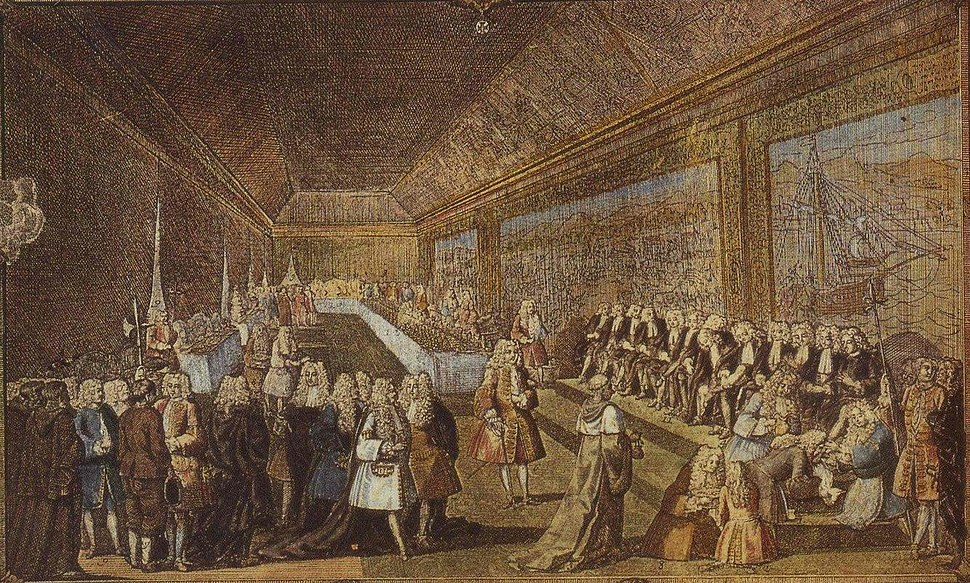 Court function at the Palace of Ribeira in 1748