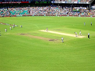 Playing time (cricket) - A cricket match in progress on 2 January 2004 in Sydney in the Australian summer.