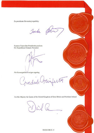 Government of Sweden - Image of the signature blocks with seals of the 2011 Croatia EU Accession Treaty for Slovakia, Finland, Sweden and the United Kingdom. Note that Sweden is the only one of the four not with its head of state as high contracting party.