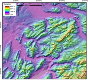 Bornes Massif - Digital elevation model of the Bornes Massif