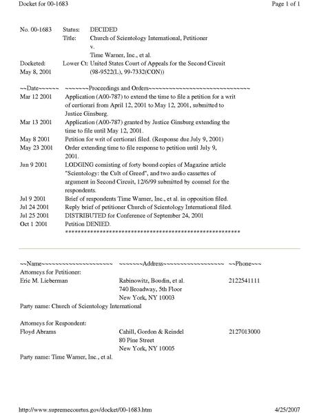 File:DOCKET Sup. Ct. 2001 Scientology v. Time Warner.pdf