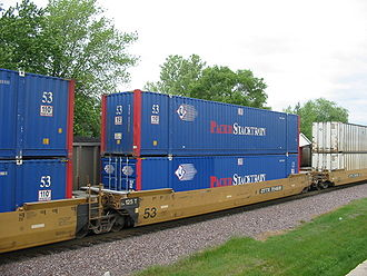 Double-stack rail transport - Part of a double-stack train, with 53-foot containers