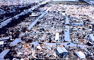 Kendall, Florida - Dadeland Mobile Home Park neighborhood near Kendall destroyed by Hurricane Andrew in 1992.