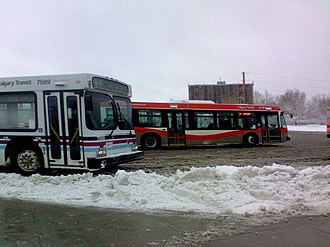 Dalhousie station (Calgary) - The bus loop at Dalhousie station on a snowy day.