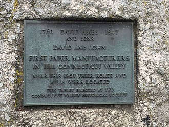 David Ames (colonel) - Tablet commemorating David Ames and sons contributions to industry in the Connecticut Valley