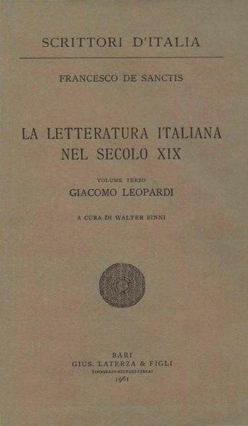 File:De Sanctis, Francesco– Giacomo Leopardi, 1961 – BEIC 1800379.pdf