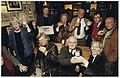 De bezwaarmakers tegen de Appelaarplannen vieren de schorsing van het bestemmingsplan in het Proeflokaal aan de Lange Veerstraat 17. Zittend Gerard Nol, Henk Vijn en Monique van Baaren en st, NL-HlmNHA 54036927.JPG