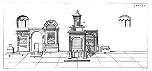 Papal tombs in old St. Peter's Basilica - Drawing of papal tombs