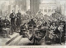Meeting in the Hall of the Freemason's Tavern, London with sign language for deaf and dumb people, published in the Illustrated London News, 23 January 1875 Deaf and Dumb event at Freemason's Tavern.jpg