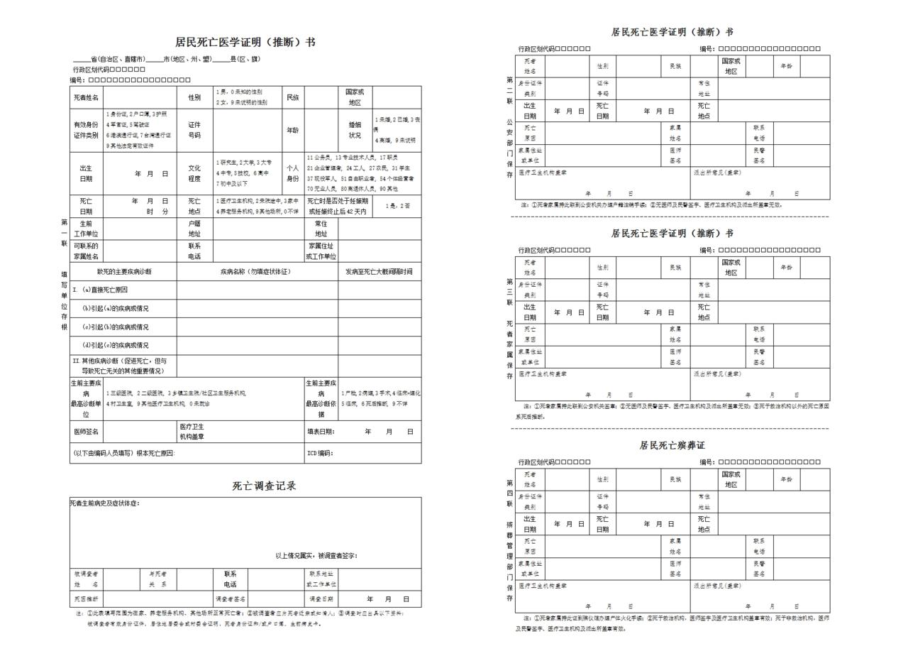 居民死亡医学推断书_File:Death certificate in Mainland China.png - 维基百科,自由的百科全书