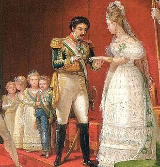 Princess Paula of Brazil - The Emperor's Second Marriage (detail) by Jean-Baptiste Debret. Behind the Emperor are his children by order of precedence: Pedro, Januária, Paula and Francisca.