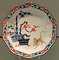 Decagonal Plate with Tiger and Tree Design, c. 1680-1700, Arita, hard-paste porcelain with overglaze enamels - Gardiner Museum, Toronto - DSC00586.JPG