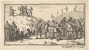 Decimation (Roman army) - Decimation. Etching by William Hogarth in Beaver's Roman Military Punishments (1725)