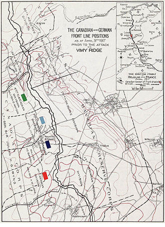 50th Battalion (Calgary), CEF - The 50th Battalion, with the 4th Division was attacking from the north of the ridge and were facing the 16th Bavarian Jäger Division and the 79th Reserve Division
