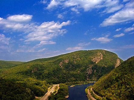 New Jersey, seen here in Warrren County, shares the Delaware Water Gap with neighboring Pennsylvania. Delaware Water Gap.jpg
